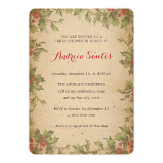 "Christmas Bridal Shower Holiday Themed Rustic 5"" X 7"" Invitation Card"
