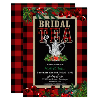 Christmas Bridal Tea Party Red Black Buffalo Plaid Card