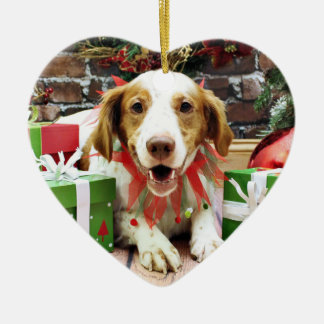 Christmas - Brittany Spaniel - Kinnick Ceramic Ornament