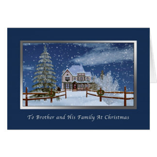 Christmas, Brother and Family, Winter Scene Card