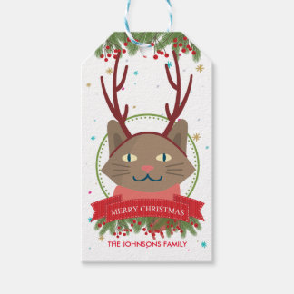 Christmas Brown Cat Funny Gift Tags
