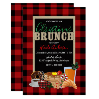 Christmas Brunch Rustic Red Black Buffalo Plaid Card