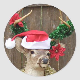 Christmas Buck Classic Round Sticker