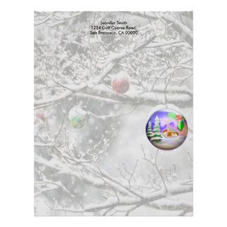 Christmas Bulb Hanging from Tree Letterhead