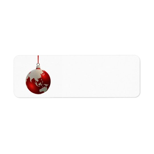 Christmas Bulb With Continents, Asia and Australia Return Address Label
