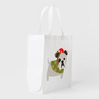 Christmas Bulldog Grocery Bags