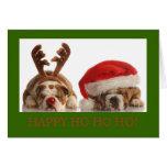 CHRISTMAS BULLDOG HOLIDAY GREETING CARD GREEN