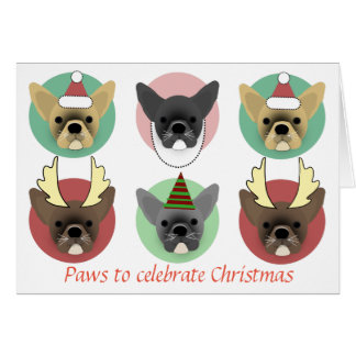 Christmas bulldog puppies card
