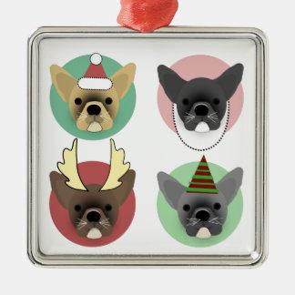 Christmas Bulldog Puppies Metal Ornament