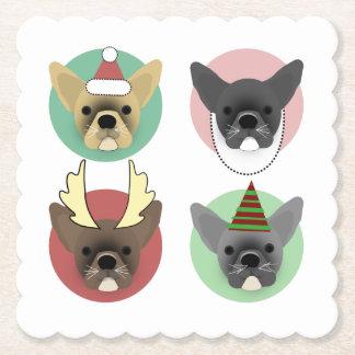 Christmas Bulldog Puppies Paper Coaster