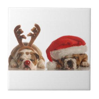 Christmas Bulldogs Ceramic Tile