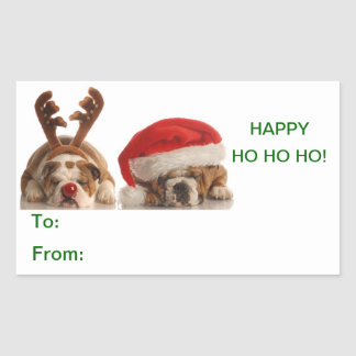 Christmas Bulldogs Gift Label Sticker