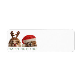 CHRISTMAS BULLDOGS RETURN ADDRESS LABELS