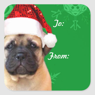 Christmas bullmastiff puppy gift tag stickers