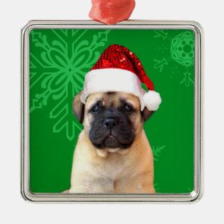 Christmas bullmastiff puppy metal ornament