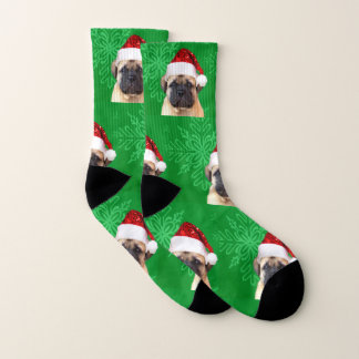 Christmas Bullmastiff puppy socks 1