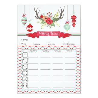 Christmas Bunco Score Card- Deer Antlers Card