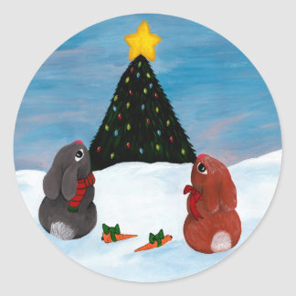 Christmas Bunnies Classic Round Sticker