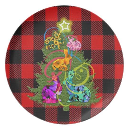 Christmas Bunnies Melamine Plate