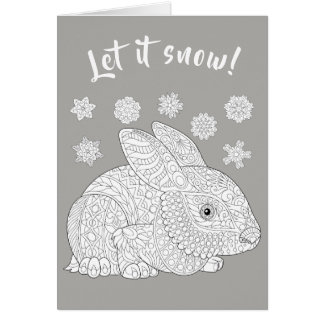 Christmas Bunny and Snow Coloring Card