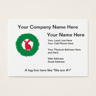 Christmas Bunny Rabbit in a Wreath Business Card