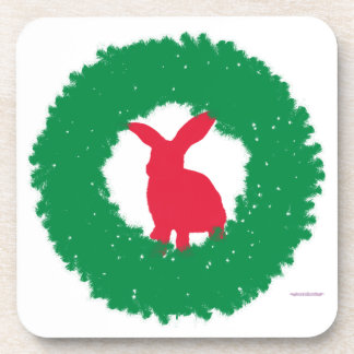 Christmas Bunny Rabbit in a Wreath Coaster