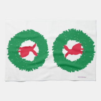 Christmas Bunny Rabbit in a Wreath Hand Towels