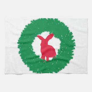 Christmas Bunny Rabbit in a Wreath Towel