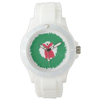 Christmas Bunny Rabbit in a Wreath Wrist Watches