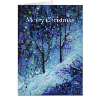 Christmas Bunny Rabbit Snowy Forest Greeting card