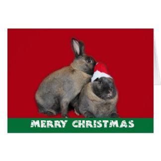 Christmas Bunny Rabbits Santa Hat Red Card