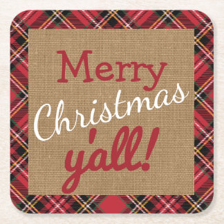 Christmas Burlap Southern Yall Plaid Decor Gift Square Paper Coaster