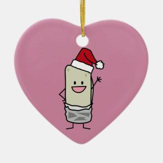 Christmas Burrito Waving Hello Santa Hat Holiday Ceramic Ornament