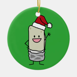 Christmas Burrito Waving Hello Santa Hat Holiday Ceramic Ornament