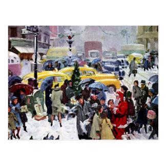 Christmas - Busy Sidewalks Postcard