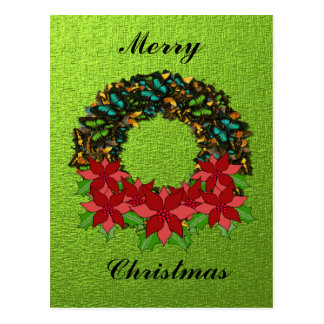 Christmas Butterfly Poinsettia Wreath Post Card