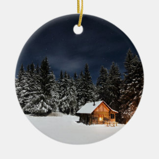 Christmas Cabin in the Mountains 2017 Ornament