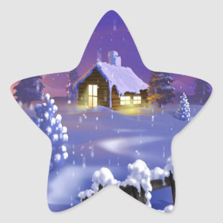 Christmas Cabin Star Sticker