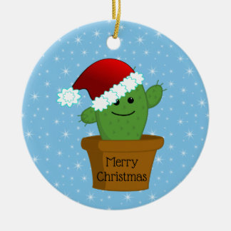 Christmas Cactus in a Santa Hat Ceramic Ornament