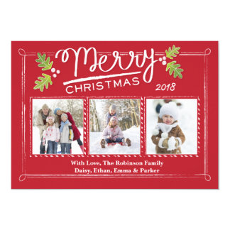 Christmas Calligraphy Holly 3 Photo Card