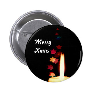 Christmas Candle against Stars Button Name Tag