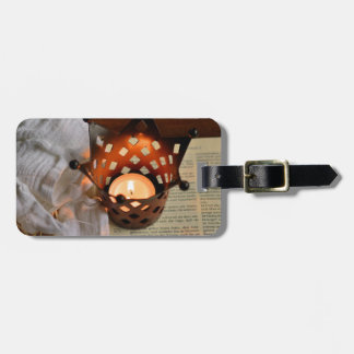 Christmas candle and bible luggage tag