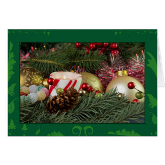 Christmas candle and ornaments card