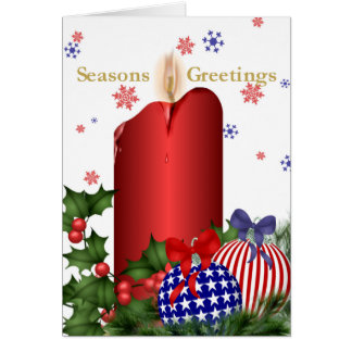 Christmas Candle and Patriotic Bulbs Card