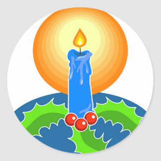 Christmas Candle Classic Round Sticker
