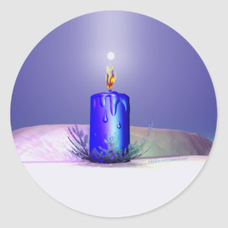 Christmas Candle Night Blue Classic Round Sticker