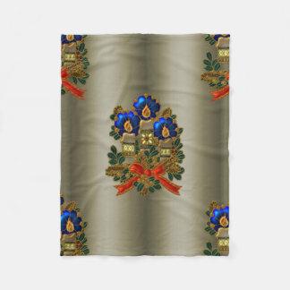 Christmas Candles and Wreath Fleece Blanket