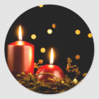 Christmas candles classic round sticker