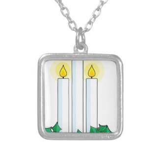 christmas candles silver plated necklace