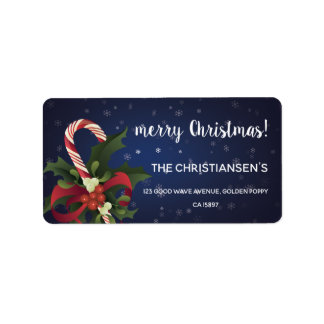 Christmas candy cane and mistletoe and holly berry label